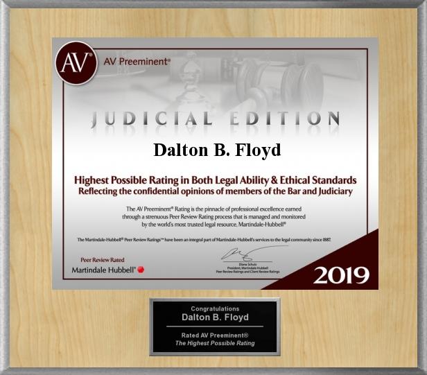 AV Preeminent Lawyers Award (Judicial Edition) - Dalton Floyd, Jr. 2019
