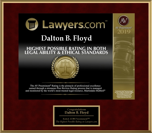 AV Preeminent Lawyers Award (Legal Ability & Ethical Standards) - Dalton Floyd, Jr. 2019